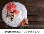 white wedding cake decorated... | Shutterstock . vector #334464170