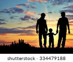 silhouette of gay parents with... | Shutterstock . vector #334479188