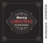 vintage retro merry christmas...   Shutterstock .eps vector #334483334