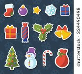 christmas icons and labels ... | Shutterstock .eps vector #334490498