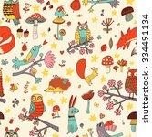 lovely autumn concept childish... | Shutterstock .eps vector #334491134