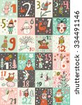 awesome advent calendar in... | Shutterstock .eps vector #334491146