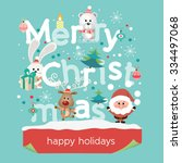 christmas greeting card. merry... | Shutterstock .eps vector #334497068