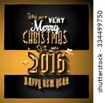 2016 happy new year and merry... | Shutterstock . vector #334499750