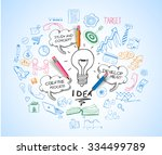 idea concept with light bulb...   Shutterstock . vector #334499789