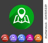 map location icon flat web sign ...