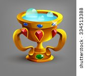 golden cup or goblet with blue...