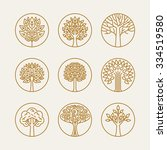 vector set of linear icons and... | Shutterstock .eps vector #334519580