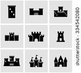 vector black castle icon set | Shutterstock .eps vector #334542080