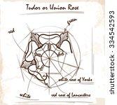 tudor rose. architectural... | Shutterstock .eps vector #334542593