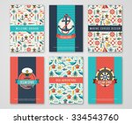 set of nautical and marine... | Shutterstock .eps vector #334543760