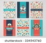 set of nautical and marine... | Shutterstock .eps vector #334543760