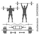 push press  shoulder press ....   Shutterstock .eps vector #334550834