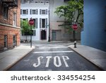 Stop Sign Painted On The Road...