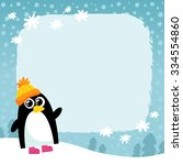 vector penguin in orange hat on ... | Shutterstock .eps vector #334554860