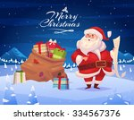 funny santa with presents.... | Shutterstock .eps vector #334567376