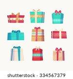 christmas gifts set  on white... | Shutterstock .eps vector #334567379