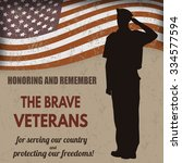 us army soldier saluting the... | Shutterstock .eps vector #334577594