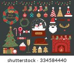 merry christmas design elements ... | Shutterstock .eps vector #334584440