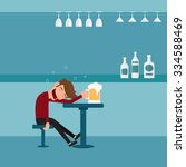 a drunk man asleep at the bar... | Shutterstock .eps vector #334588469