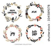 christmas greeting wreaths with ... | Shutterstock .eps vector #334589078