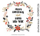 christmas greeting wreath with... | Shutterstock .eps vector #334589126
