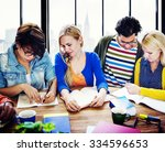 multiethnic group people... | Shutterstock . vector #334596653