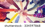 diverse and casual people and... | Shutterstock . vector #334597868