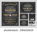 vintage chalkboard wedding... | Shutterstock .eps vector #334610624