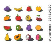 doodle set icon. fruit and... | Shutterstock .eps vector #334614110