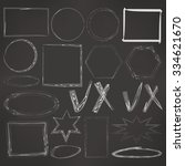 set of hand drawn scribble... | Shutterstock . vector #334621670