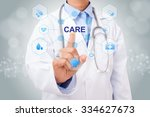 doctor hand touching care sign... | Shutterstock . vector #334627673