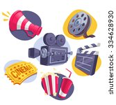 movie icons set  megaphone ... | Shutterstock .eps vector #334628930