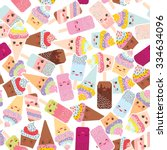 seamless pattern cupcakes with... | Shutterstock .eps vector #334634096