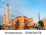 the hagia sophia in istanbul in ... | Shutterstock . vector #334636478