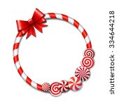 frame made of candy cane  with... | Shutterstock .eps vector #334644218