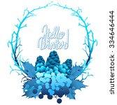 Winter Frozen Wreath. Holly...