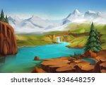 Landscape, nature vector background