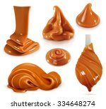 sweet caramel  set realistic... | Shutterstock .eps vector #334648274