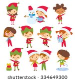 cute children and santa elves