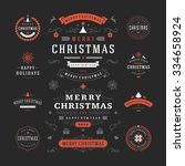 christmas labels and badges... | Shutterstock .eps vector #334658924