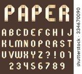full alphabet of old paper... | Shutterstock . vector #334670090