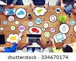 multiethnic group of people... | Shutterstock . vector #334670174