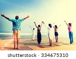 yoga wellbeing exercise beach... | Shutterstock . vector #334675310