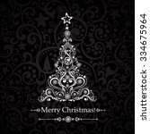 christmas card. christmas tree. ... | Shutterstock .eps vector #334675964