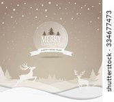 merry christmas snowfall scenic ... | Shutterstock .eps vector #334677473