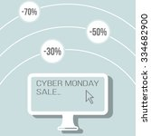 cyber monday banner with flat... | Shutterstock .eps vector #334682900