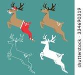 set of christmas reindeer in... | Shutterstock .eps vector #334690319