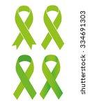 symbol of scoliosis. green... | Shutterstock .eps vector #334691303