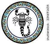 decorative zodiac sign scorpio   Shutterstock .eps vector #334691654